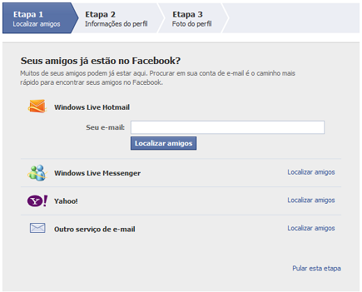 Localizar amigos no Facebook email