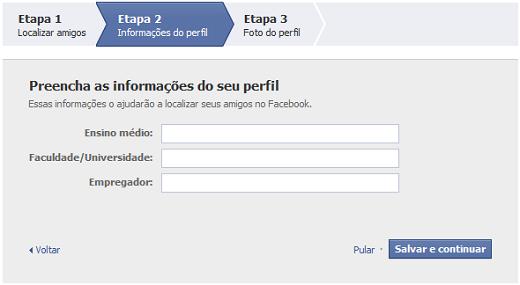 Adicionar informações no perfil do Facebook