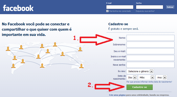 painel de entrada do Facebook